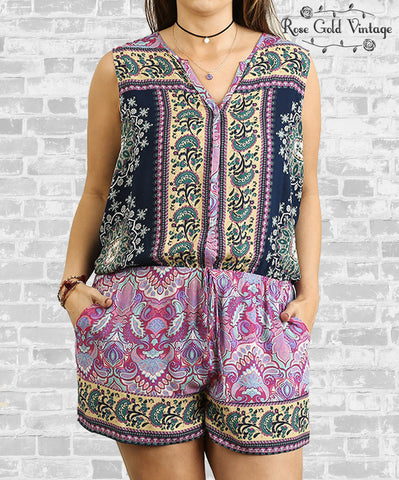 Sleeveless Romper - Berry