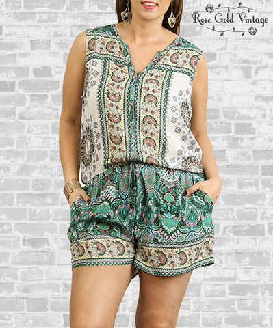 Sleeveless Romper - Green