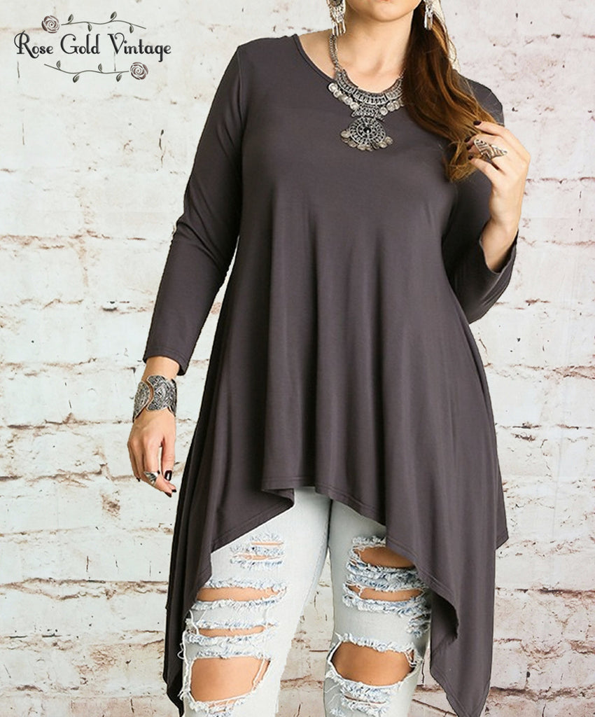 Sharkbite Tunic with Lace - Charcoal