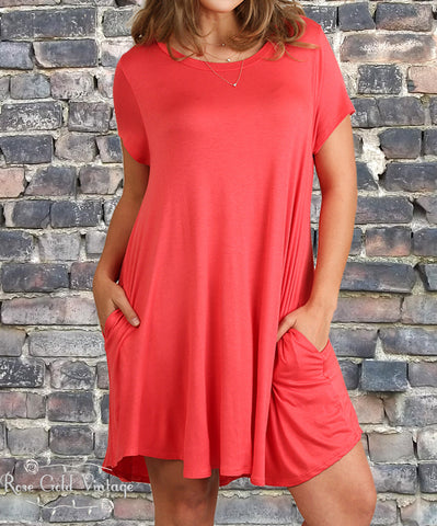 Plus Perfect Pocket A Line Tee Dress - Strawberry