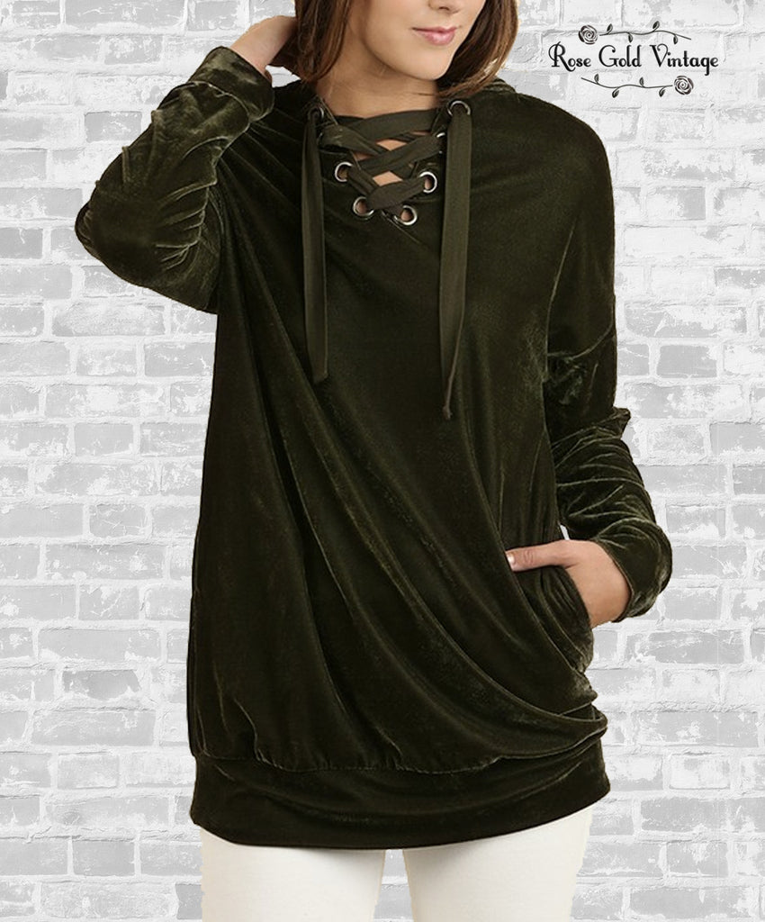 Lace-Up Velvet Hoodie - Olive
