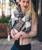 Oversized Perfect Plaid Blanket Scarf - White & Brown