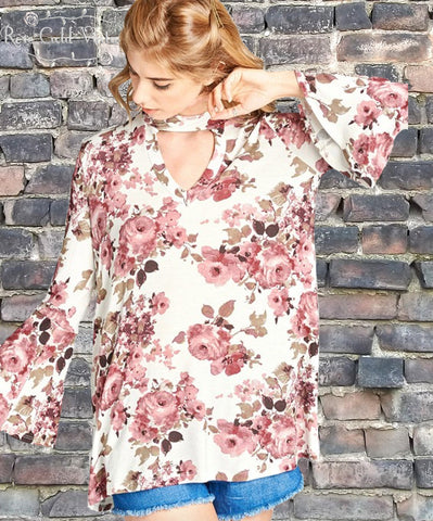 Floral Bell Sleeve Top - Off White