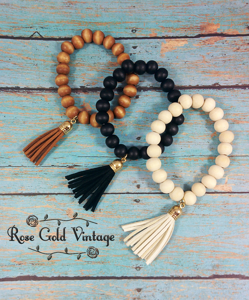Wooden Bead Stretch Bracelet w/ Tassel - Brown, Black or Ivory