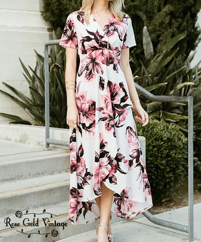 Floral Wrap Dress - Mauve