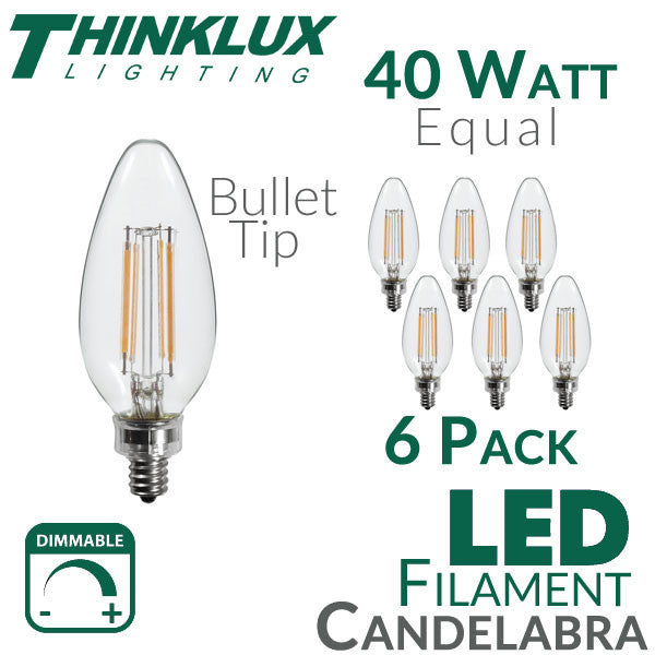 thinklux filament candelabra led light bulb 45 watts 40 watt equal dimmable e12 base bullet tip 6 pack