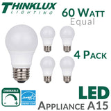 Picture of Thinklux A15 Appliance LED Light Bulb - 6 Watt - 60 Watt Equal - Dimmable - Shatterproof - 4 Pack - 1