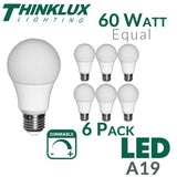 Picture of Thinklux A19 LED Light Bulb - 9 Watt - 60 Watt Equal - Dimmable - Shatterproof - 6 Pack - 1
