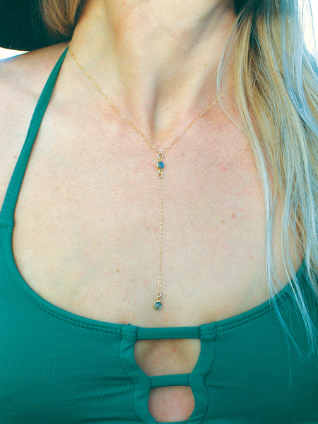 Labradorite Lariat Necklace, Y Necklace, Delicate Layering Necklace