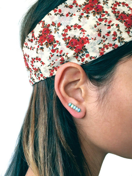 Turquoise Ear Climbers, Turquoise Ear Cuffs