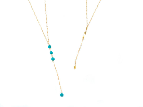 Turquoise Backdrop Necklace, Gold Back Necklace, Delicate Body Necklace