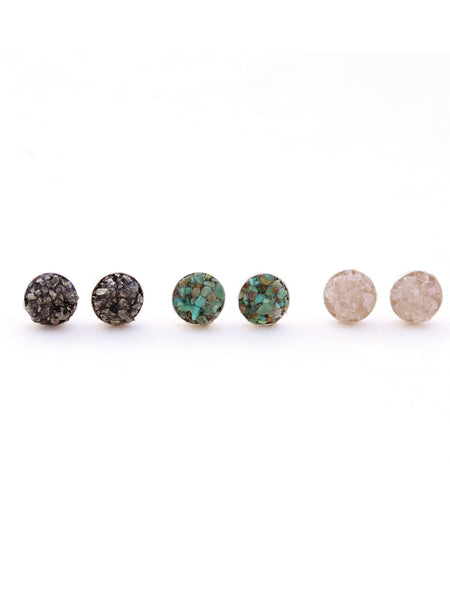 Gemstone Stud Earrings, Crushed Stone Earrings, Handmade Stud Earrings