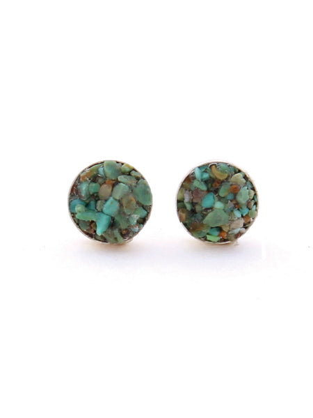 Turquoise Stud Earrings, Turquoise Studs, Crushed Turquoise Jewelry