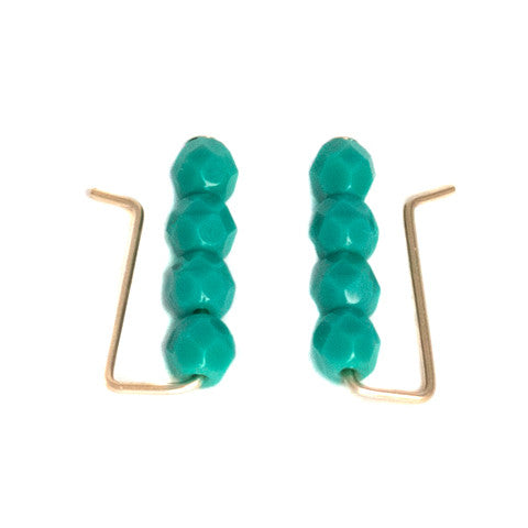 Teal Ear Climbers, Blue Ear Climbers, Teal Ear Cuffs