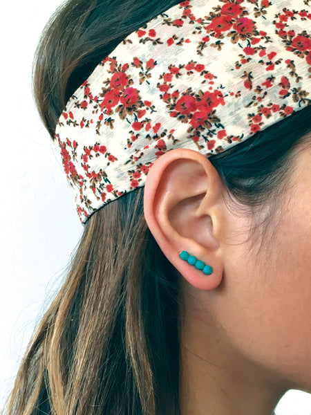 Turquoise Ear Climbers, Turquoise Ear Cuffs, Turquoise Ear Jackets, Teal Ear Climbers