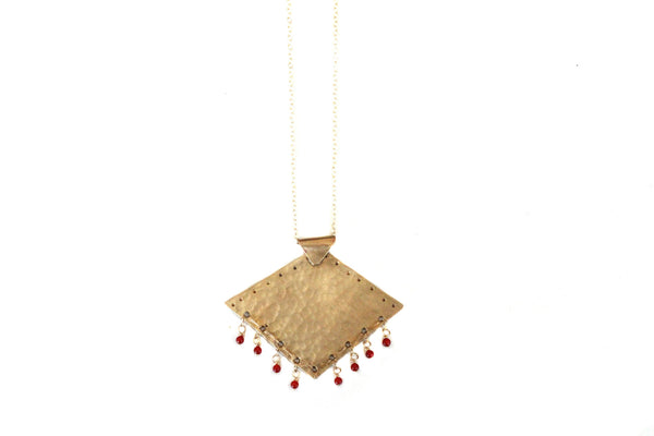 Carnelian and Brass Pendant Necklace