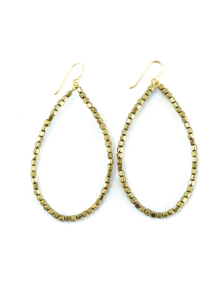 Gold Beaded Hoops, Gold Hoops, Brass Hoops, Teardrop Hoops