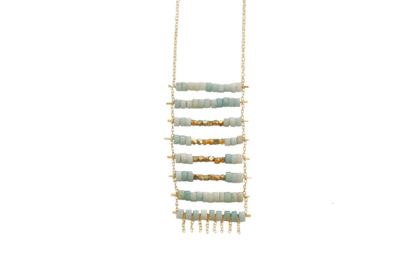 aquamarine and brass kaleem pendant necklace