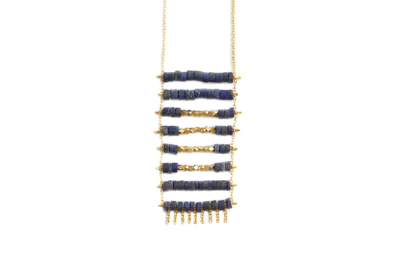 lapis lazuli and brass kaleem pendant necklace