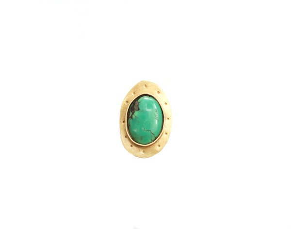 Turquoise and Brass Earth Ring