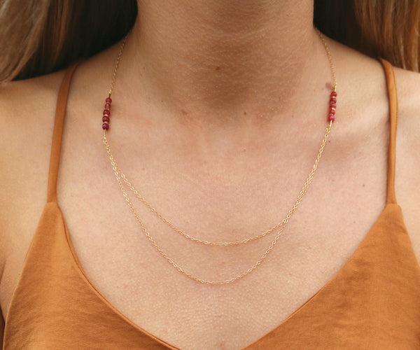 Orion Minimal Gemstone Bibb Necklace