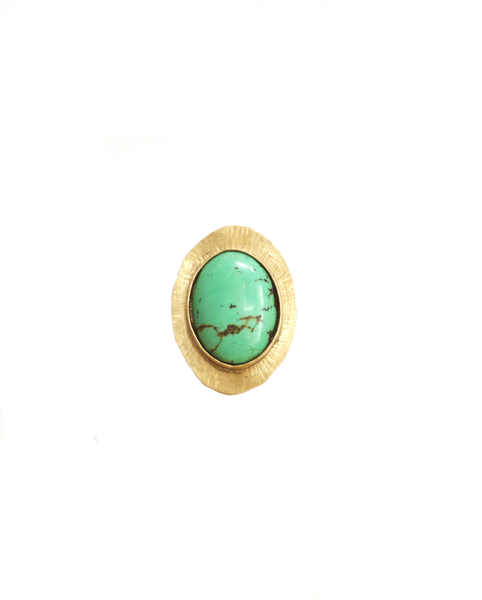 Turquoise and Brass Sun Ring