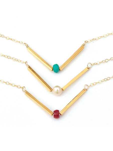 V Necklace, Gold V Necklace, Pearl V Necklace, Turquoise V Necklace, Ruby V Necklace, Arrow Necklace
