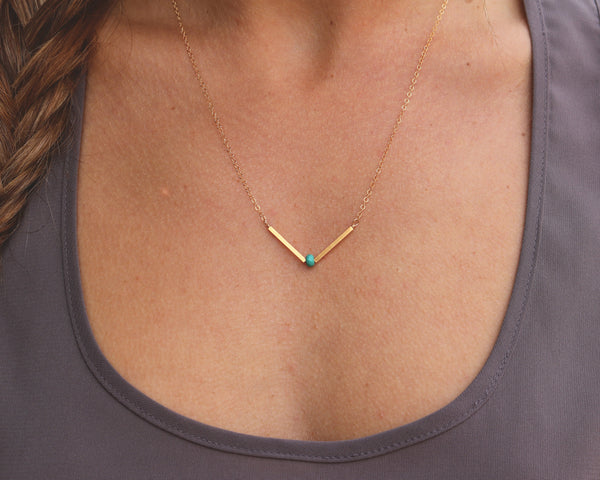 V Necklace, Turquoise V Necklace, Dainty V Necklace, Delicate V Necklace, Arrow Necklace, Chevron Necklace