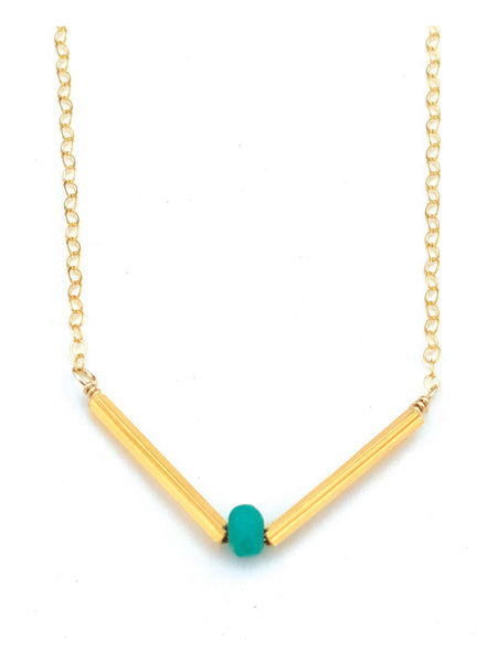 Turquoise V Necklace, V Necklace, Gemstone V Necklace, Dainty V Necklace, Gold V Necklace