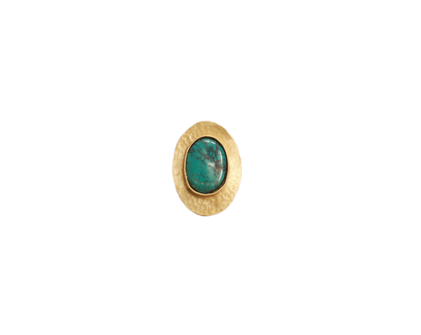 Turquoise and Brass Lake Ring