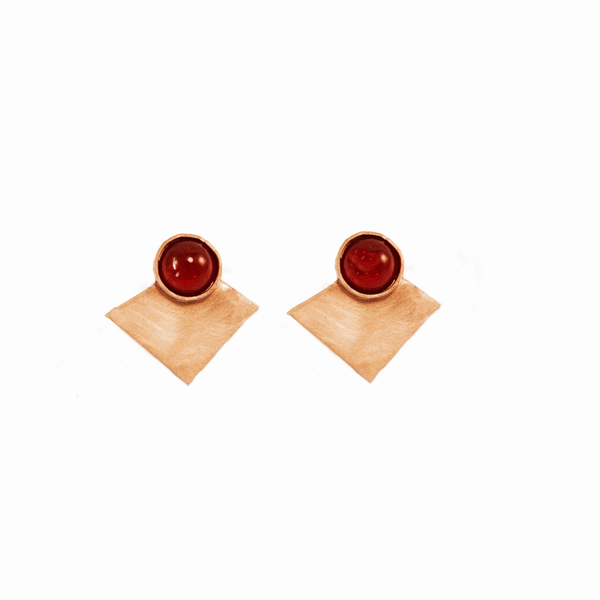 brass and carnelian arena earrings 1