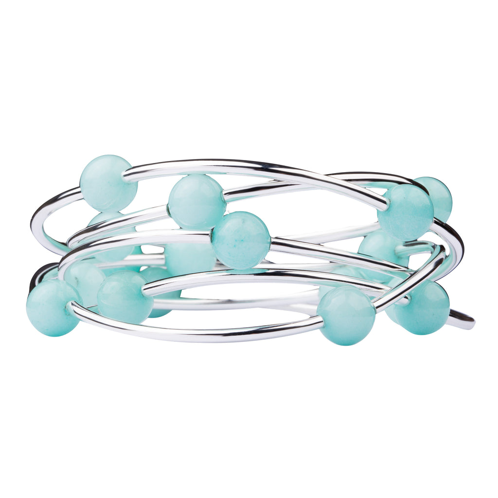 Wrap | Stone | Necklace-Bracelet | Tiffany Blue Agate
