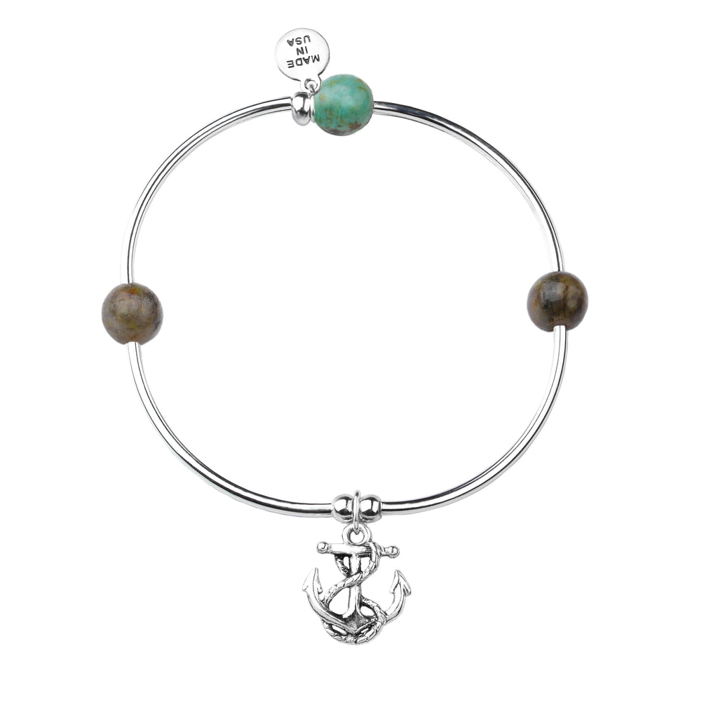 Soft Bangle Charm Bracelet | Anchor | African Turquoise