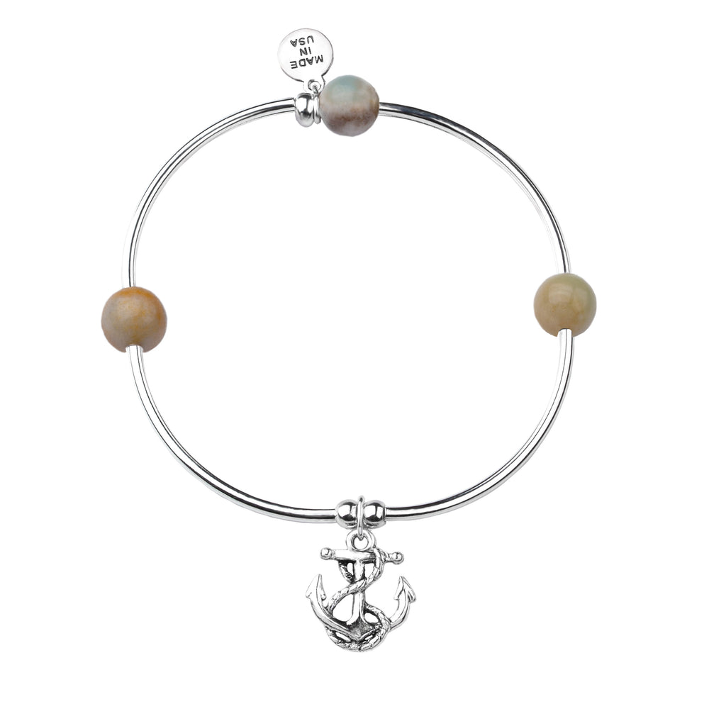 Soft Bangle Charm Bracelet | Anchor | Amazonite