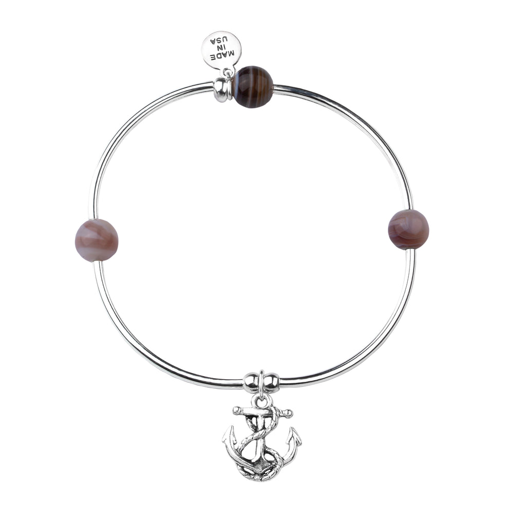 Soft Bangle Charm Bracelet | Anchor | Botswana