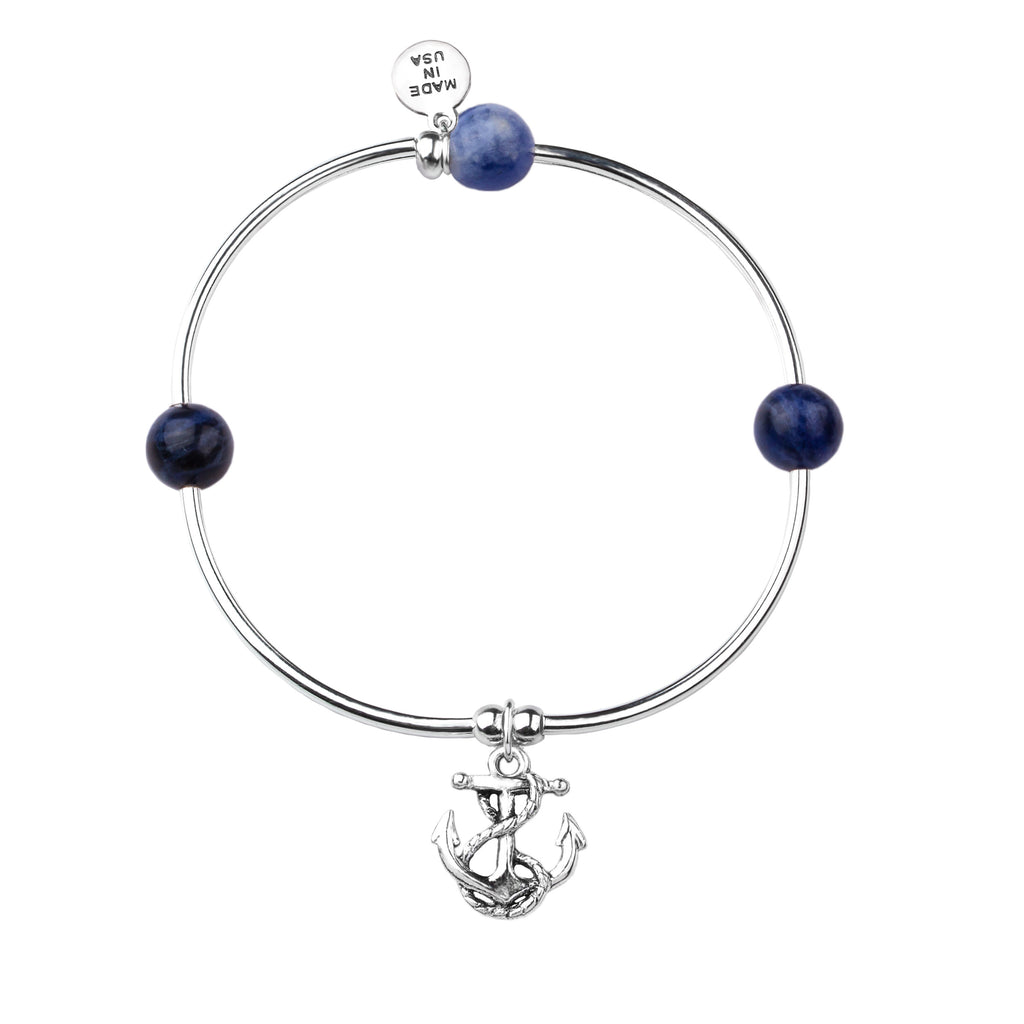 Soft Bangle Charm Bracelet | Anchor | Sodalite