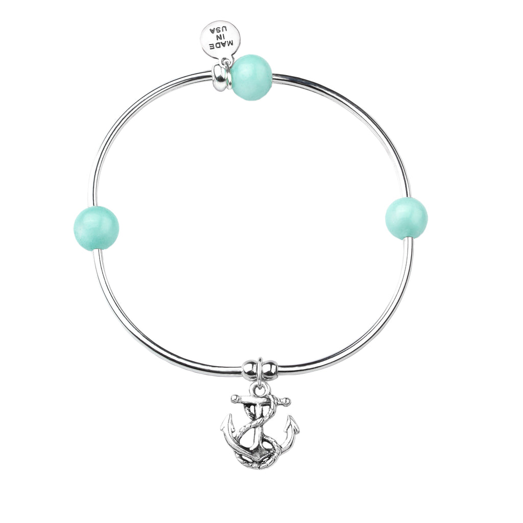Soft Bangle Charm Bracelet | Anchor | Tiffany Blue