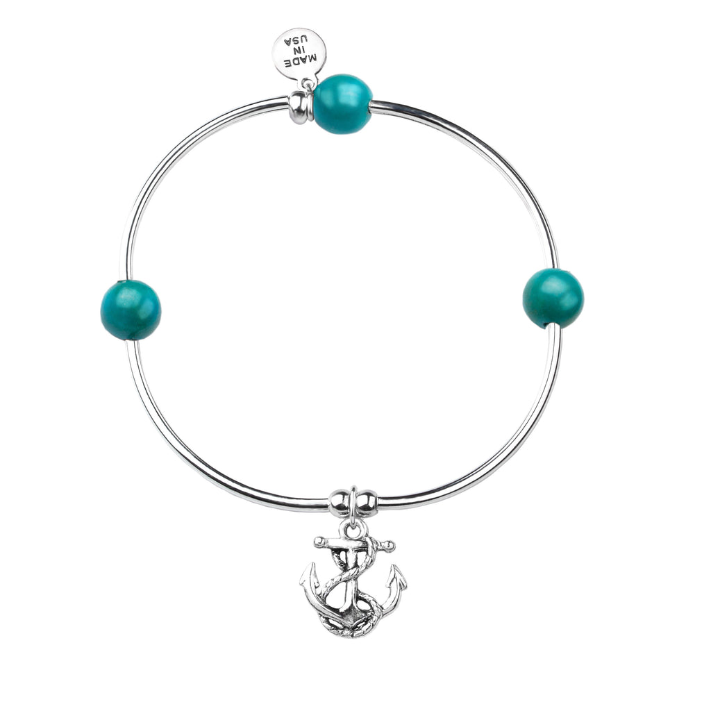 Soft Bangle Charm Bracelet | Anchor | Turquoise
