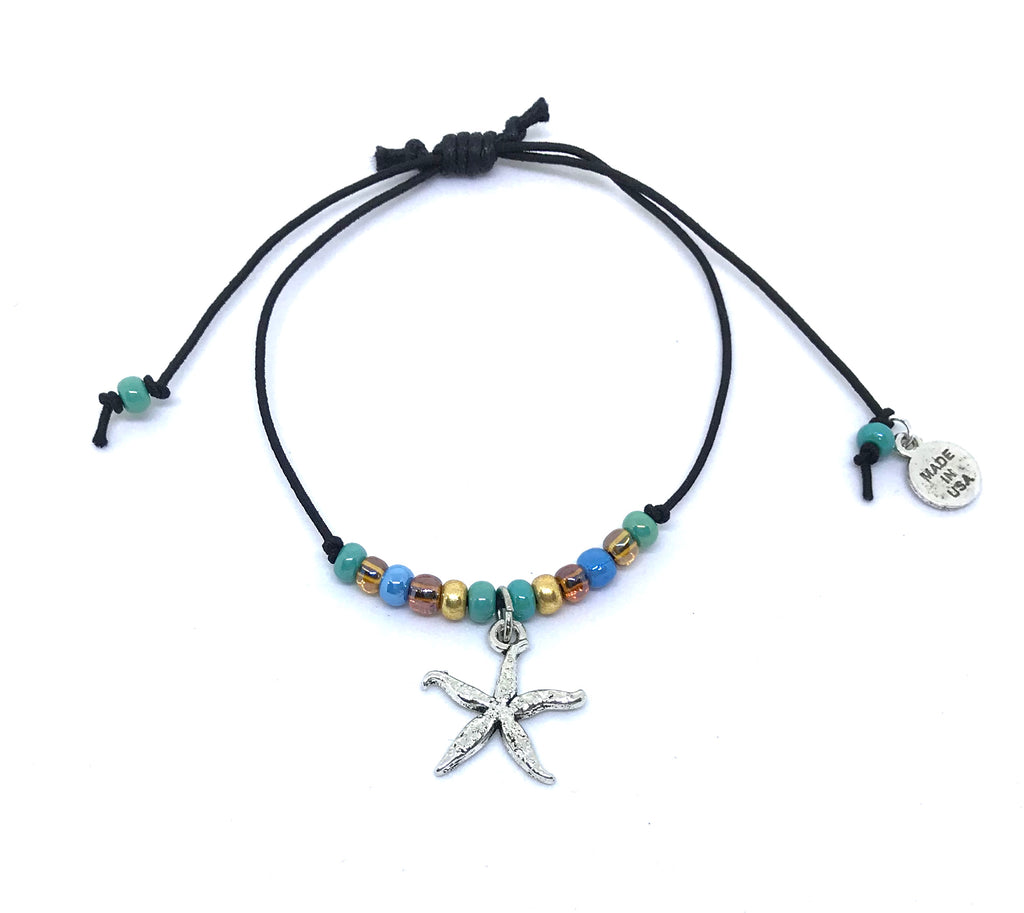 Black Cord Adjustable Anklet | Starfish