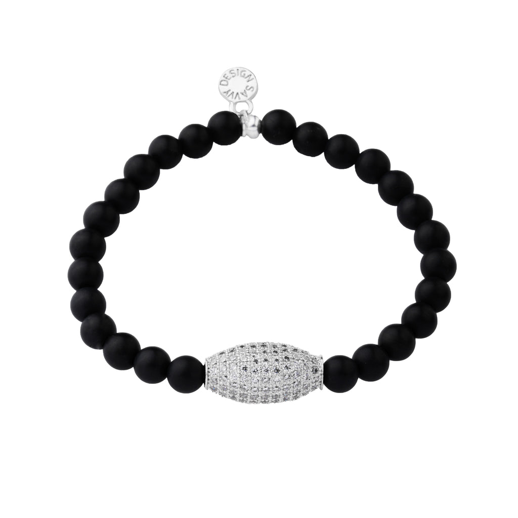 Pave Bead | Little Layer Bracelet | Matte Onyx - Intention | Silver