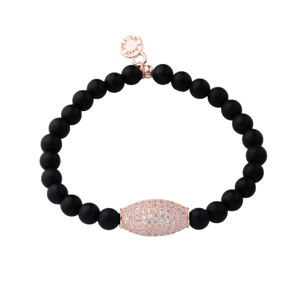 Pave Bead | Little Layer Bracelet | Matte Onyx - Intention | Rose Gold