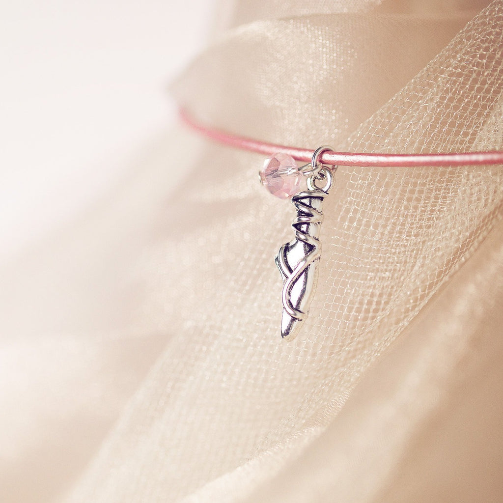 Ballet Slipper | Pink Metallic Leather Necklace