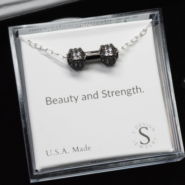 Barbell | Little Layer Necklace | Sterling Silver - Gunmetal