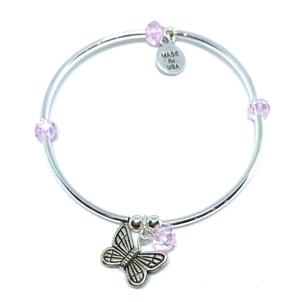 Butterfly | Soft Bangle Charm Bracelet | Kids | Blush