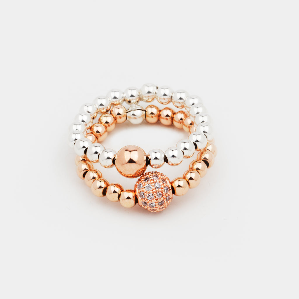 Bella Bead Stack | Ring | Sterling Silver, 14K Rose Gold