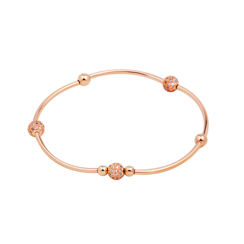 Bella Soft Bangle | Bracelet | 14K Rose Gold, Pave CZ