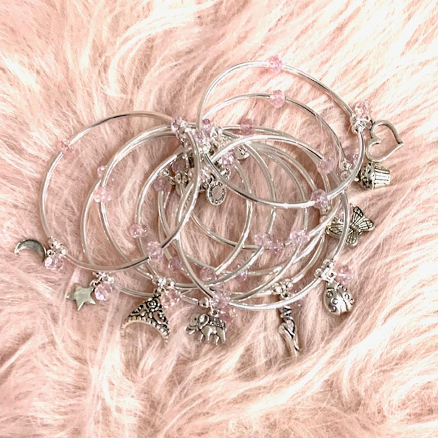 Ballet Slipper | Soft Bangle Charm Bracelet | Kids | Blush