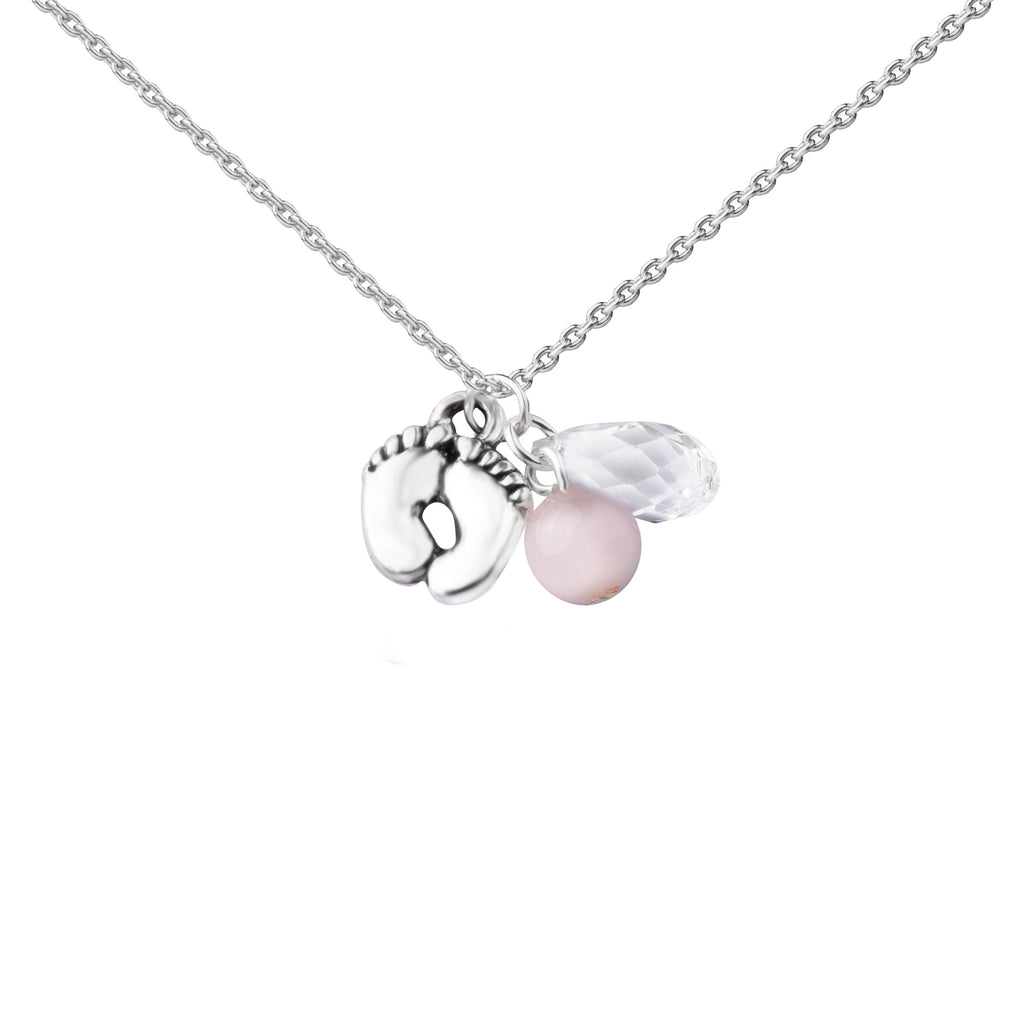 Baby Feet - Pink | Cluster Necklace | Sterling Silver
