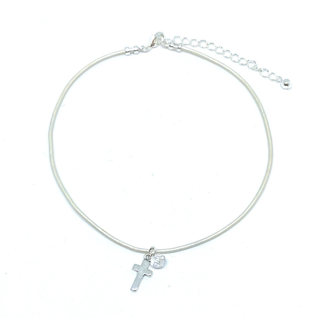 Cross | Necklace | Childrens | White Metallic Leather