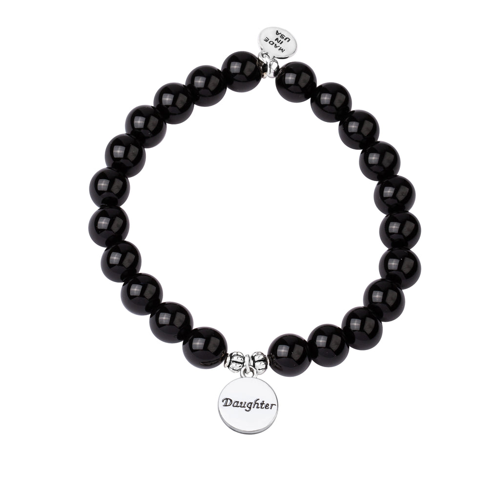 Stone Beaded Charm Bracelet | Daughter | Onyx